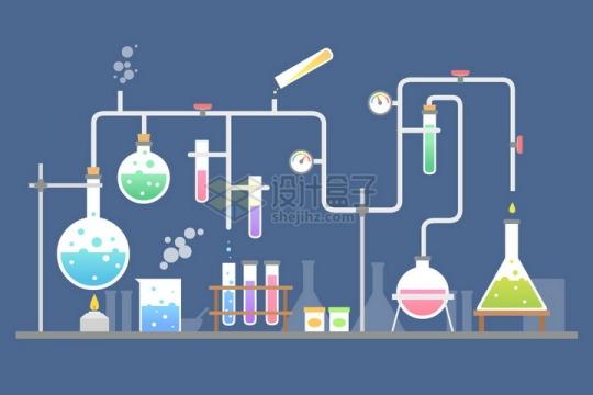 扁平化风格化学实验仪器装置png图片免抠矢量素材