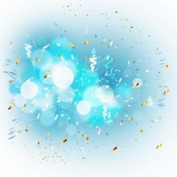 蓝色的光晕效果爆炸效果和飞舞的金色碎纸片效果636762png图片素材