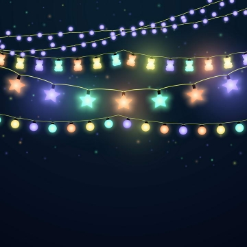 各种漂亮的五颜六色发光装饰小灯泡灯带图片免抠素材