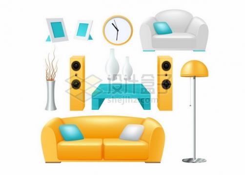 黄色沙发音响茶几相册落地灯等家具466086png矢量图片素材