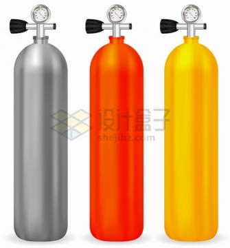 银色红色黄色便携式氧气罐png图片素材