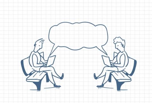 圆珠笔画涂鸦风格两个正在通过电脑交流的商务人士职场人际交往配图图片免抠矢量素材