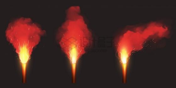 发出红色光芒和烟雾的燃烧棒png图片免抠矢量素材