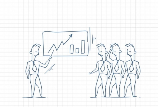 圆珠笔画涂鸦风格正在对员工讲解公司业绩职场人际交往配图图片免抠矢量素材