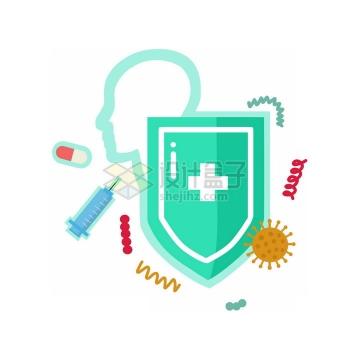 扁平化风格绿色盾牌象征了阻止病毒医疗医学png图片免抠素材