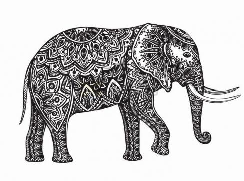 大象抽象图案纹理部落民族图腾png图片免抠矢量素材