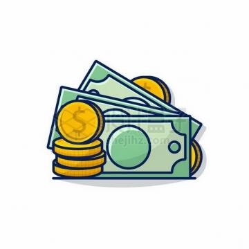 MBE风格金币硬币和美元png图片免抠矢量素材