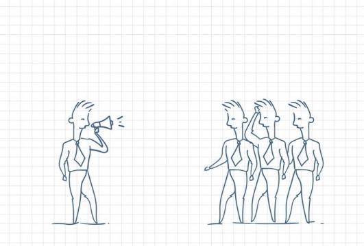 圆珠笔画涂鸦风格正在用喇叭对员工喊话职场人际交往配图图片免抠矢量素材