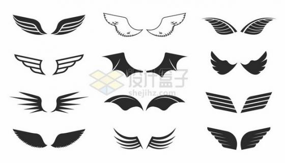 12款黑色翅膀装饰947091png矢量图片素材