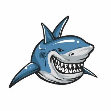 手绘卡通凶狠露出牙齿的卡通鲨鱼png图片免抠矢量素材