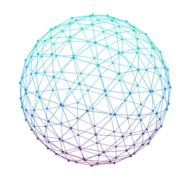 蓝色紫色渐变色风格点线组成的圆球图案图片免抠素材