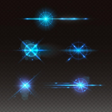 5款蓝色星光发光光线光晕效果图片免抠矢量图素材