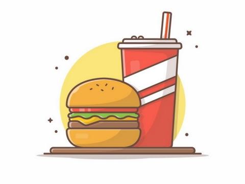 MBE风格卡通可乐汉堡美食png图片免抠矢量素材