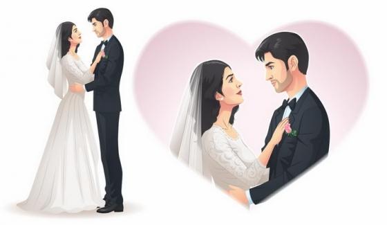 漫画风格结婚婚纱照深情对视的新娘新郎png图片免抠矢量素材