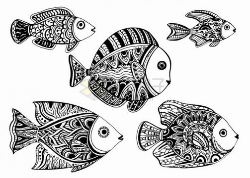 一群珊瑚鱼抽象图案纹理部落民族图腾png图片免抠矢量素材