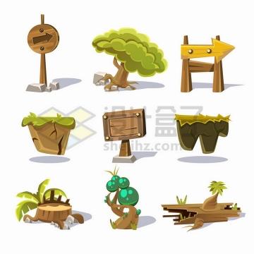 9款卡通风格大树木牌指示牌树桩等png图片免抠矢量素材