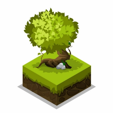 土壤草地方块上的郁郁葱葱的大树png图片免抠矢量素材