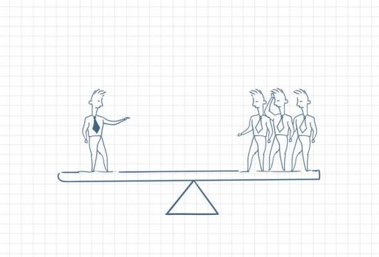 圆珠笔画涂鸦风格老板和员工同样重要跷跷板职场人际交往配图图片免抠矢量素材