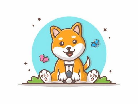 MBE风格玩足球的可爱卡通柴犬狗狗png图片免抠矢量素材