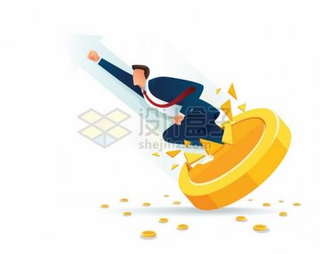 商务人士冲破金币象征了收益超过预期141041png矢量图片素材