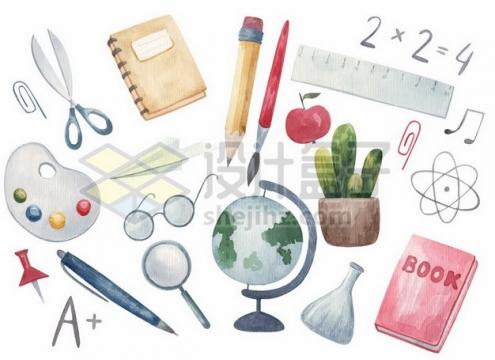 剪刀眼镜地球仪铅笔直尺等教学仪器水彩插画339907png矢量图片素材