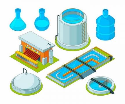 2.5D风格污水处理厂自来水处理厂设施png图片免抠矢量素材