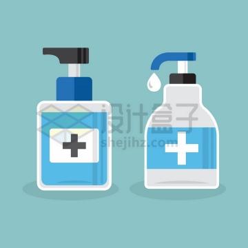 两种洗手液消毒液扁平化瓶子png图片免抠矢量素材