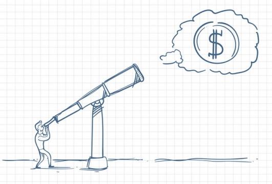 圆珠笔画涂鸦风格通过望远镜看到象征金钱的美元符号职场人际交往配图图片免抠矢量素材