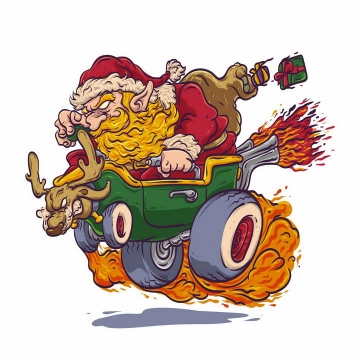 驾驶喷火战车的疯狂圣诞老人png图片免抠矢量素材