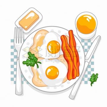 煎鸡蛋培根和面包美味西餐早餐彩绘插画png图片素材