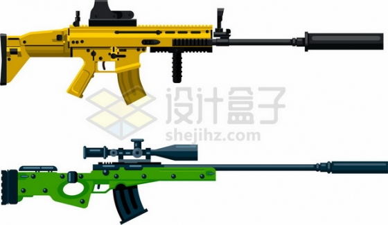 两款彩色装了消音器的狙击枪360971png图片素材