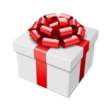 斜视角白色礼物盒和红色包装带系成的蝴蝶结图片免抠素材