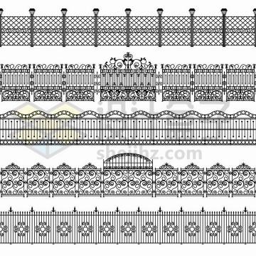 5款黑色线条花纹的铁栅栏围墙png图片免抠矢量素材