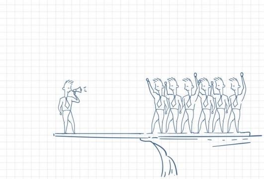 圆珠笔画涂鸦风格在悬崖边上对员工讲话的领导职场人际交往配图图片免抠矢量素材
