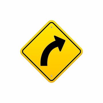 黄色交通标志转弯右转弯指示标志牌png图片免抠矢量素材
