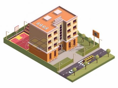 3D风格学校建筑大楼668070png矢量图片素材