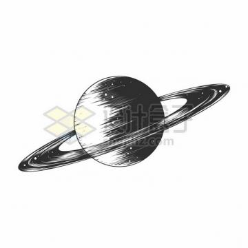 黑白色手绘土星和土星光环308056png矢量图片素材