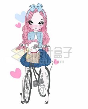 手绘卡通少女骑着自行车车篮中放着小狗png图片素材