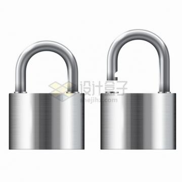 关闭和打开的不锈钢金属拉丝光泽挂锁门锁png图片素材