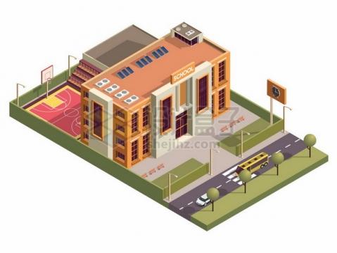 3D风格学校建筑大楼848924png矢量图片素材