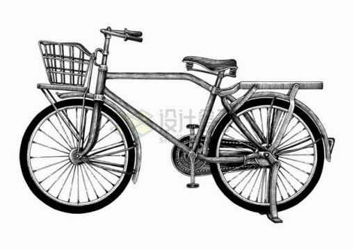 老式复古自行车手绘素描插画png图片免抠矢量素材