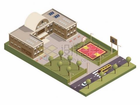 3D风格学校建筑大楼552819png矢量图片素材