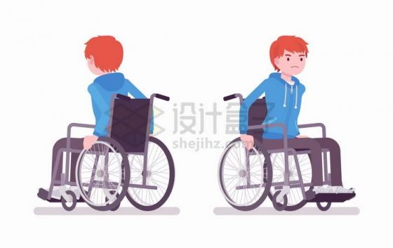 男孩坐轮椅医疗插画png图片免抠矢量素材