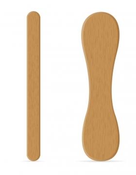 两根风格不同的木棍冰淇淋勺子免抠矢量图片素材