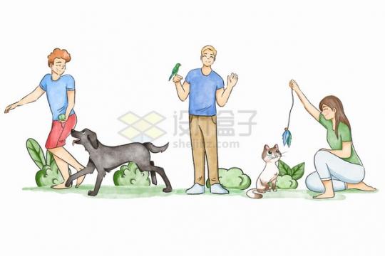 卡通男孩女孩正在遛狗逗鸟逗猫宠物彩绘插画png图片素材