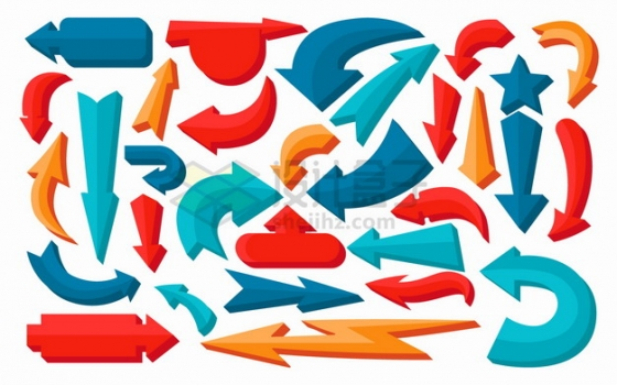 各种彩色卡通箭头符号png图片素材