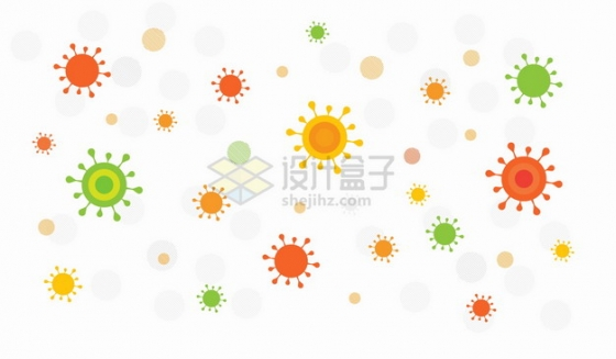 卡通新型冠状病毒背景装饰png图片素材