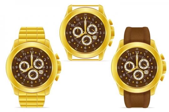 金黄色的手表机械表正面图免抠矢量图片素材