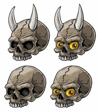 4款长角的漫画风格骷髅头png图片免抠矢量素材
