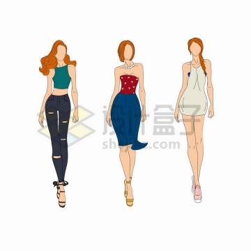 3个手绘时装模特身穿破洞裤裙子等png图片免抠矢量素材